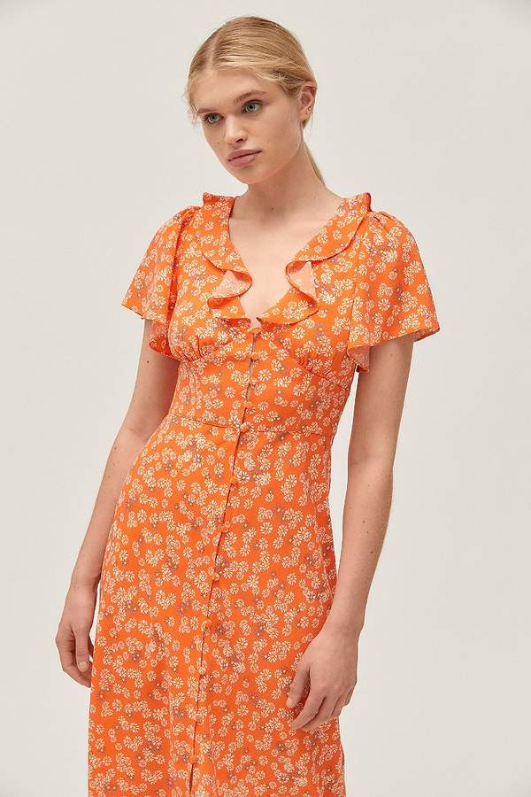 Urban Outfitters Heart Melter Button-Front Ruffle Midi Dress