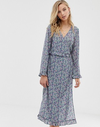 Vila ditsy floral wrap midi dress-Blue