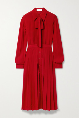 Michael Kors Collection Pussy-bow Pleated Silk-crepe Midi Shirt Dress - Red