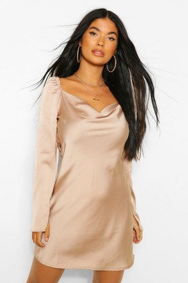 boohoo Petite Satin Split Sleeve Cowl Neck Mini Dress