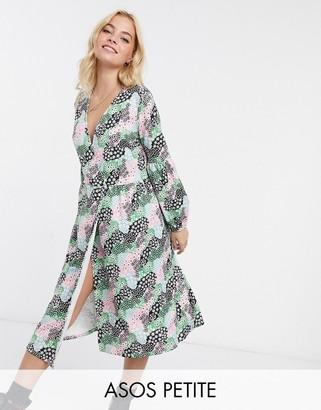 ASOS DESIGN Petite wrap front smock midi dress in multi floral print