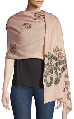 Janavi Snake & Floral Embroidered Merino Wool Scarf