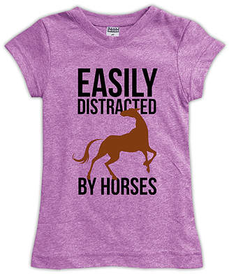 Urban Smalls Women's Tee Shirts Mauve - Mauve 'Easily Distracted by Horses' Fitted Tee - Toddler, Girls & Women