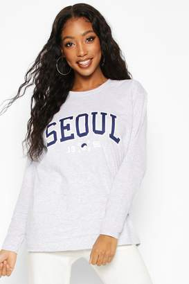 boohoo Seoul Slogan Print Long Sleeve T-Shirt