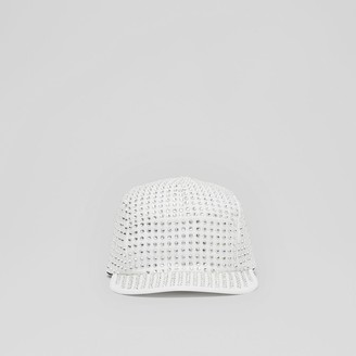 Burberry Crystal Mesh Detail Cotton Twill Cap
