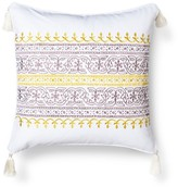 Mudhut Anila Embroidered Decorative Pillow with Tassels - Gold (Square)