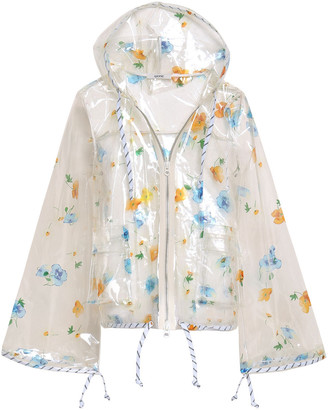 Ganni Floral-print Pvc Hooded Raincoat