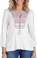Democracy Embroidered Yoke Drape Front Top