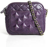 Rachel Roy Purple Quilted Leather Chain Strap Crossbody Handbag