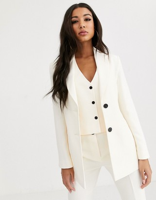 Asos DESIGN pop suit blazer in ivory