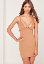 Missguided Petite Exclusive Scuba Strappy Bust Cup Bodycon Dress Camel