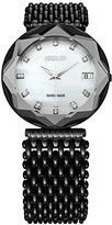 Jowissa Women's J5.195.XL Crystal 3 Black PVD Coated Stainless Steel Mesh Bracelet White Mother-Of-Pearl Dial Watch