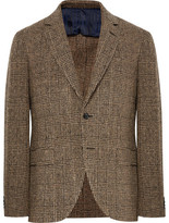 MP Massimo Piombo - Brown Slim-fit Prince Of Wales Checked Slub Wool-blend Blazer - Brown