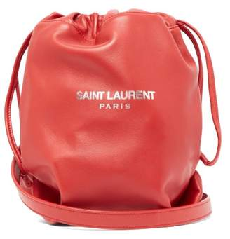 Saint Laurent Teddy Drawstring Leather Bucket Bag - Womens - Red