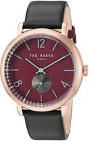 Ted Baker Men's 'OLIVER' Quartz Stainless Steel and Leather Dress Watch, Color:Black (Model: 10031516)