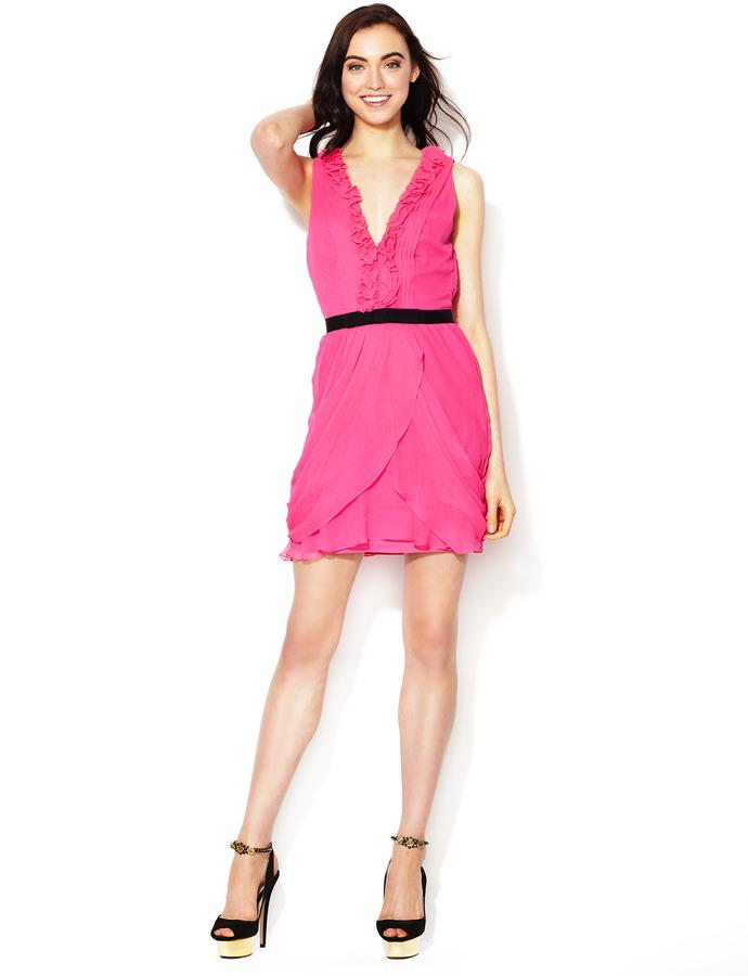Vera Wang Silk Crinkle Chiffon Ruffle V-Neck Dress