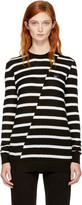 McQ by Alexander McQueen Black and White Distort Stripe Swallow Badge Sweater