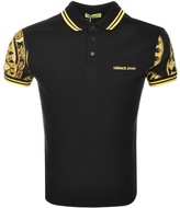 Versace Jeans Printed Sleeve Polo T Shirt Black