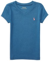 Ralph Lauren Girls' V Neck Tee - Little Kid