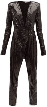 ATTICO The Sequinned V-neck Jumpsuit - Womens - Black