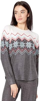 PJ Salvage Festive Fair Isle Sweater (Charcoal) Women's Sweater