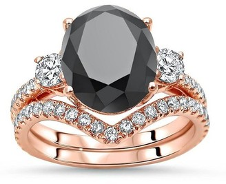 Front Jewelers 14k Rose Gold 5ct Black Oval 3 Stone Diamond Engagement Ring Bridal Set