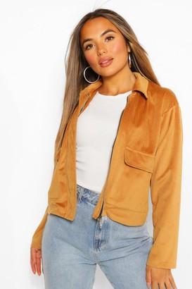 boohoo Petite Pocket Detail Cord Jacket