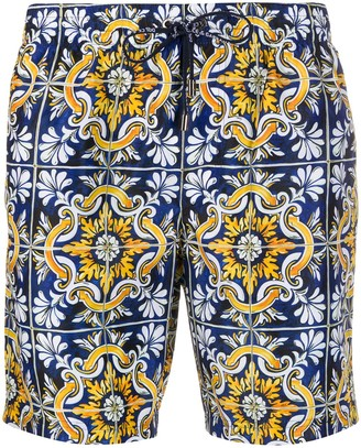 Dolce & Gabbana Mosaic Printed Swimming Trunks
