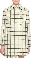 Valentino Windowpane Check Wool Coat, White/Black