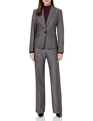 Le Suit Women's 1 Button Peak Lapel Novelty Pant Suit