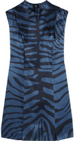 Topshop Printed Silk-jacquard Dress - Blue