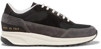 Common Projects Track Classic Suede And Mesh Sneakers - Black