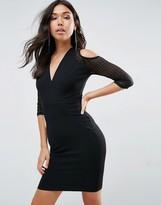 TFNC Wrap Cold Shoulder Dress