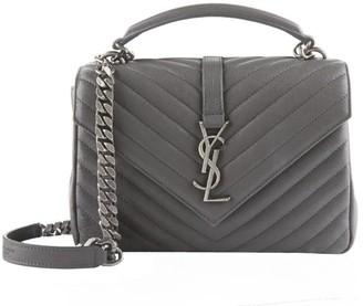 Saint Laurent Medium Leather Matellase College Shoulder Bag