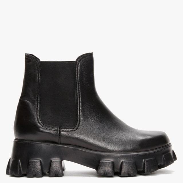 Daniel Innet Black Leather Chunky Chelsea Boots