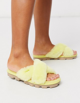 UGG Fuzzette cross strap fluffy slippers in yellow