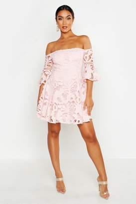boohoo All Over Crochet Skater Dress