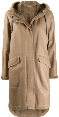 Brunello Cucinelli Mid-Length Hooded Shearling Coat