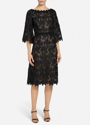 St. John Floral Guipure Lace Dress