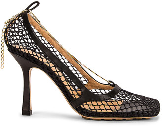 Bottega Veneta Mesh Ankle Strap Sandals in Black & Black | FWRD