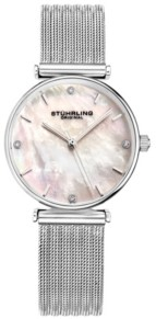 Stuhrling Original Women's Silver Tone Mesh Stainless Steel Bracelet Watch 32mm