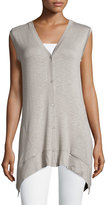 Neiman Marcus Arched-Hem Button-Front Vest, Gray