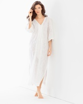 Soma Intimates Embroidered Cotton Long Robe White With White Embroidery