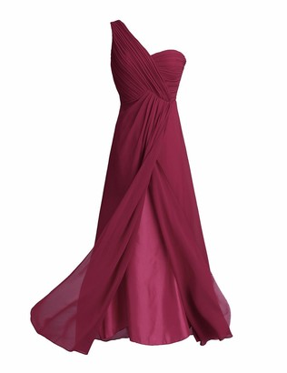 iEFiEL Womens One Shoulder Split Slit Chiffon Bridesmaid Dress Cocktail Evening Prom Gown Wine Red UK Size 20 /#16
