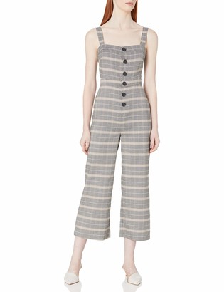 Cupcakes And Cashmere Women's Willa Checked Button Front Cropped Jumpsuit