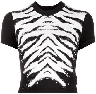 Versace zebra-print cropped T-Shirt