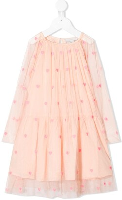 Stella Mccartney Kids Heart-Embroidered Tulle Dress
