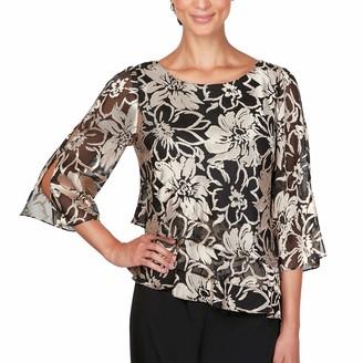 Alex Evenings Women's Asymmetric Tiered Chiffon Blouse Shirt (Missy and Petite)