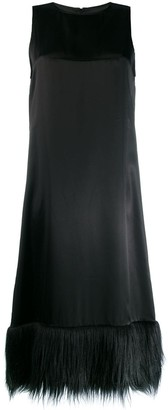 MM6 MAISON MARGIELA satin faux-fur trim dress