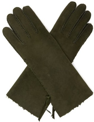 Agnelle Mia Whipstitched Shearling-lined Suede Gloves - Green